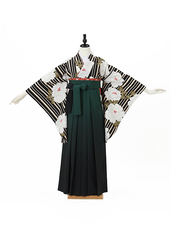 女性袴0022 黒 縞に牡丹