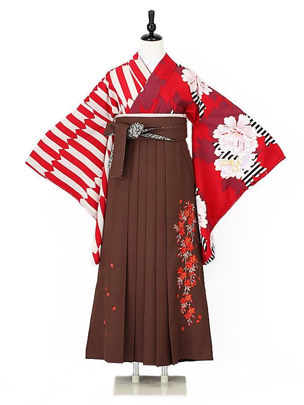 女性袴0020 赤 縞に牡丹