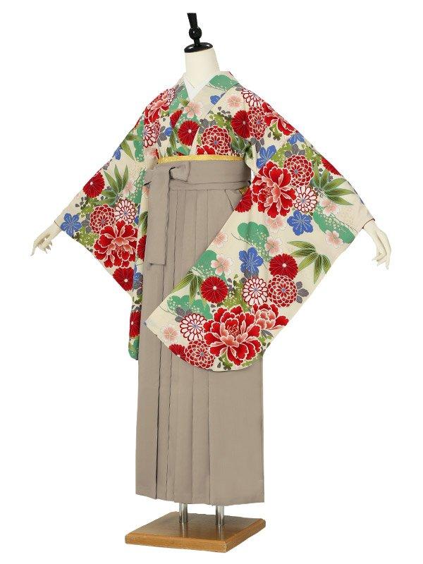 女性袴0041 クリーム 牡丹/松竹梅