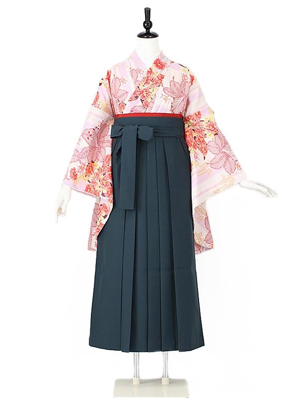 女性袴0014 珊瑚色 ユリ/花模様