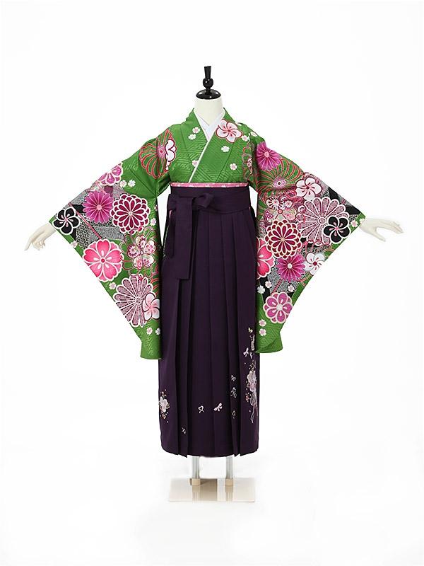 女性袴0026 緑 花模様