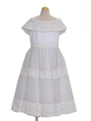 110サイズ キッズドレス KD140 白レースオーガン