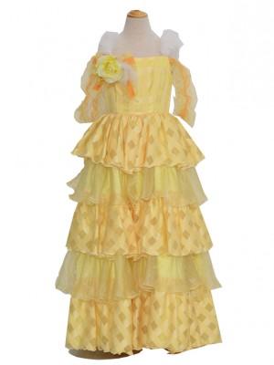 130サイズキッズドレス KD209 チェックファー黄色