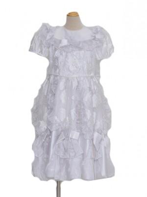 110サイズ キッズドレス KD072白ケミカルレース