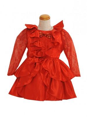 100サイズ 赤サテン長袖 KD036