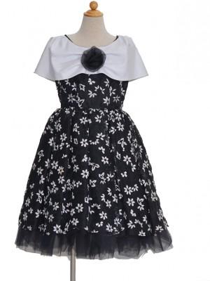 130サイズ キッズドレス KD067 ブラックカラー白