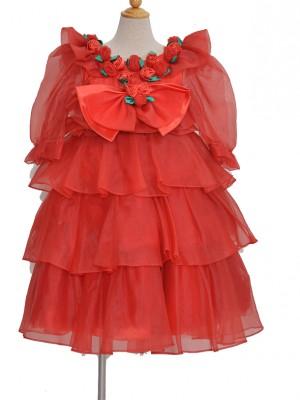 110サイズ キッズドレス KD030 赤巻きバラ