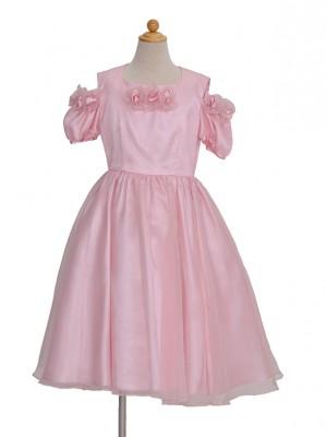 110サイズ キッズドレス KD155 ピンクそで花