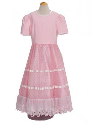 140サイズ キッズドレス KD143 ピンク水玉スカート