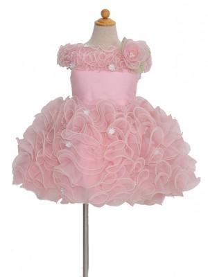 100サイズ キッズドレス KD135 ピンク白小花