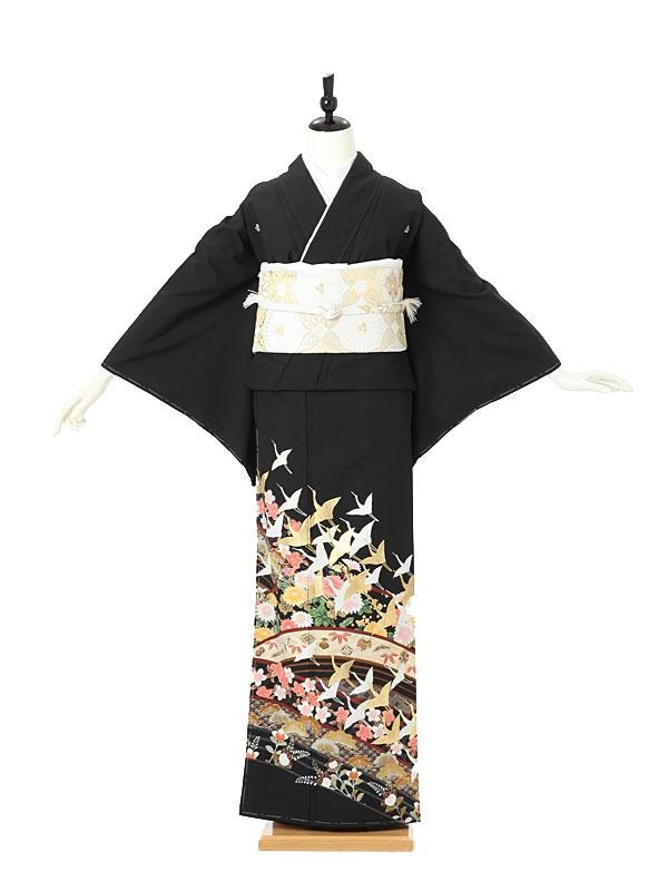 黒留袖0010 鶴/花模様