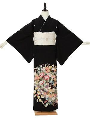 黒留袖0019 熨斗/四季の花