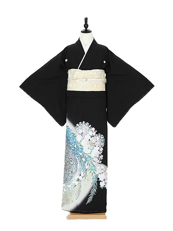 黒留袖0012 桂由美/バラ/花模様