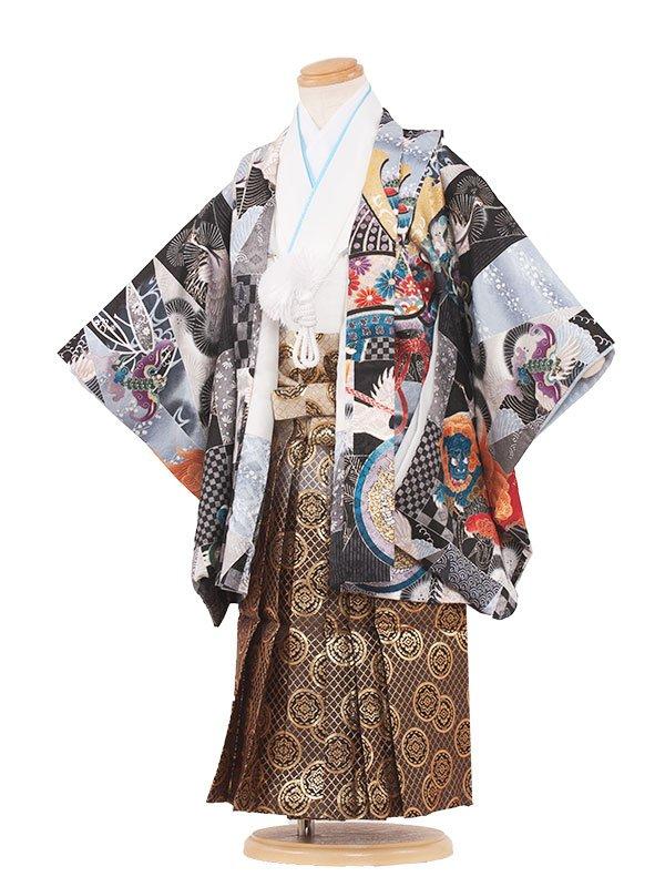 七五三(3男)3027 黒色/兜と寿 袴50
