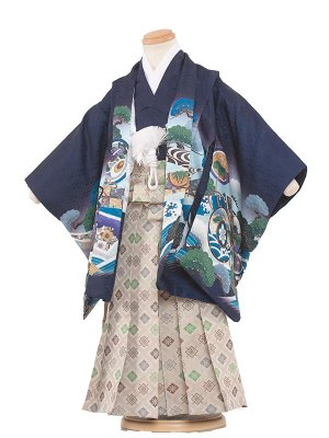 七五三レンタル(3歳男袴)3059 紺色×兜波 袴50