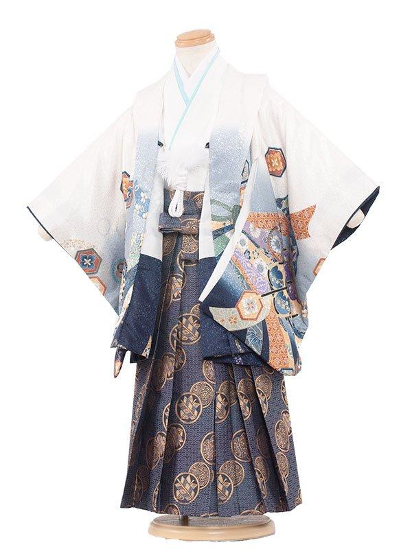 七五三(3男)3057 白色×鷹のしめ 袴53
