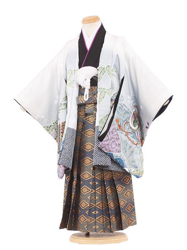 七五三レンタル(3歳男の子袴)3066 白地×兜 袴53