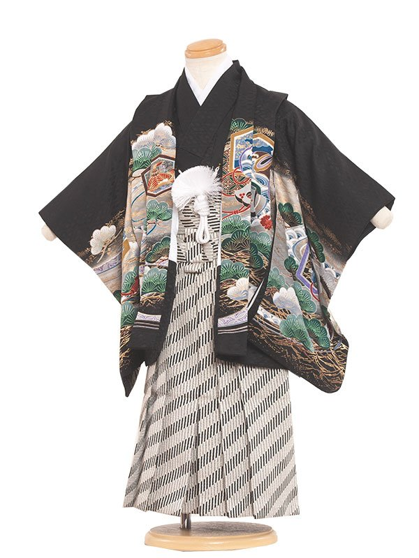 七五三(3男)3089 黒/兜と松 袴50