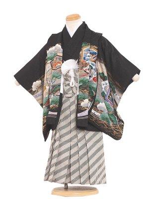 七五三レンタル(3歳男袴)3089 黒/兜と松 袴50