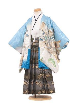 七五三レンタル(3歳男袴)3120 水色地/鷹・熨斗