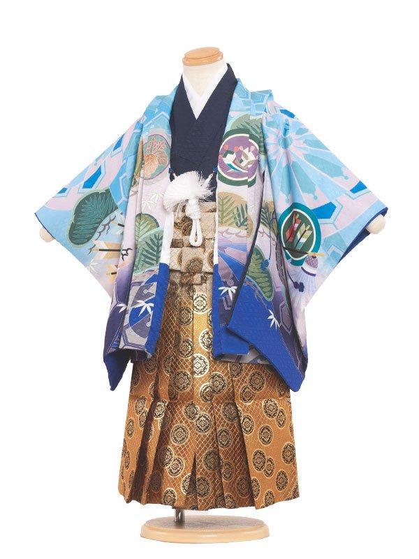 七五三(3男)3097 水色/刺繍兜の龍