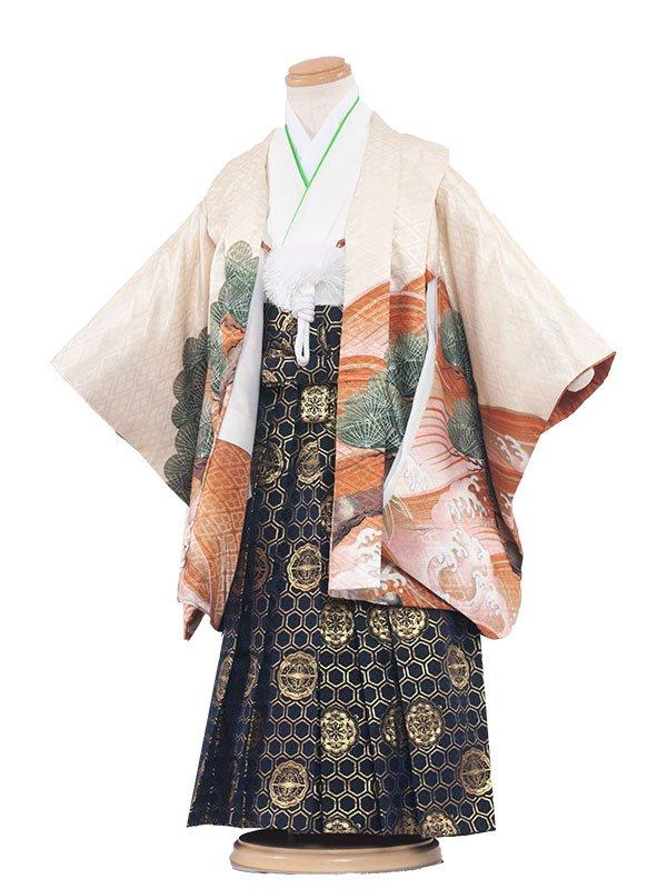 七五三(3男)3096 クリーム/刺繍鷹と朱波