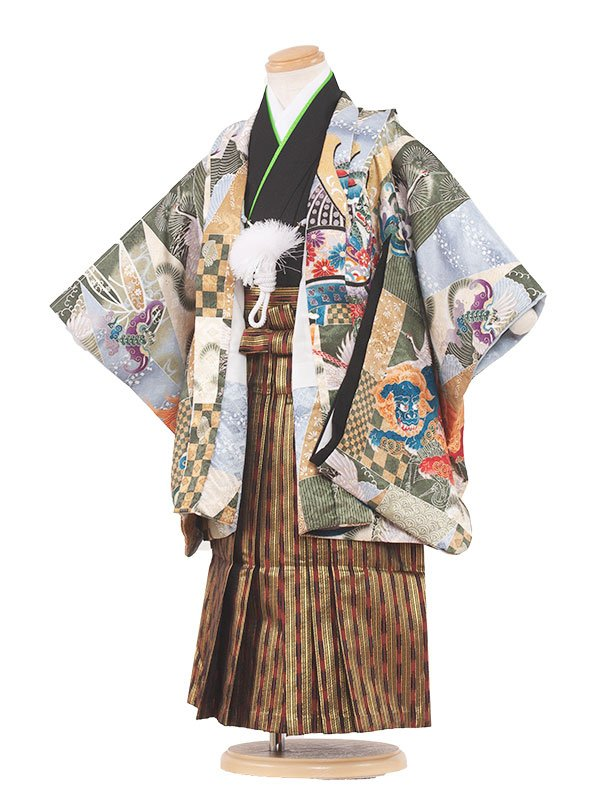 七五三レンタル(3歳男の子袴)3029 緑/兜と寿  袴