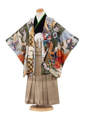 七五三レンタル(3歳男袴)3029 緑/兜と寿  袴