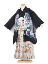 七五三(3男)3091 黒/刺繍頭鷹と華
