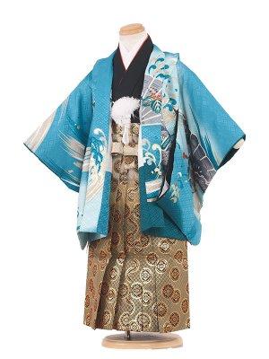 七五三レンタル(3歳男袴)3040 水色地×鷹 袴53
