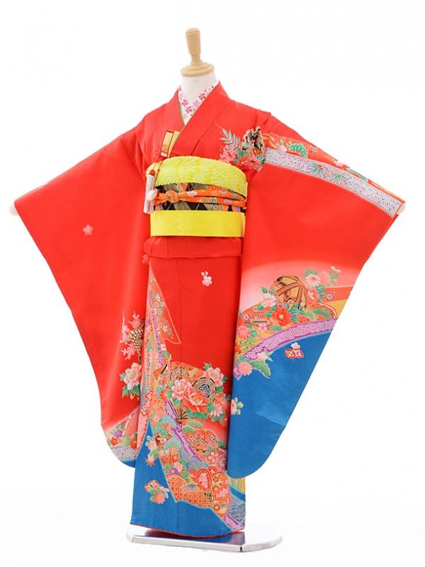 七五三レンタル(7歳女結び帯)G026赤地裾ブルーのしめ花