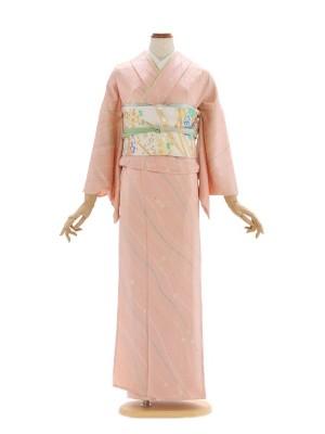 小紋(単衣)126ピンクしぼり柄