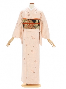 小紋(単衣)15ピンクに花 しぼり入り