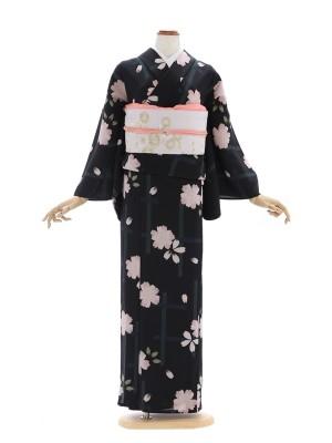 小紋(絽)7黒地に桜