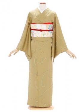 小紋(単衣)107辛子色 蝶紋