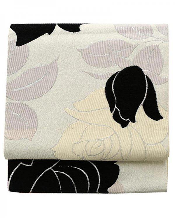 振袖用袋帯0004 白 バラ