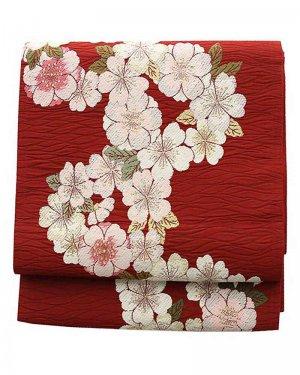 振袖用袋帯0007 赤 桜
