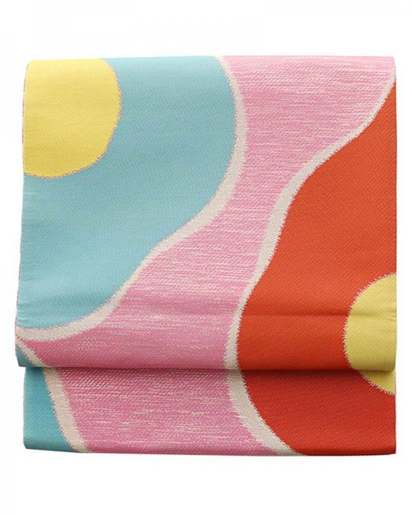 振袖用袋帯0024 ピンク 花模様
