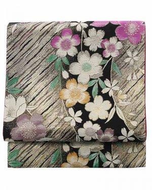 振袖用袋帯0041 黒 桜