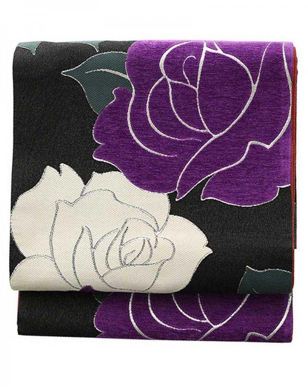 振袖用袋帯0002 黒 バラ