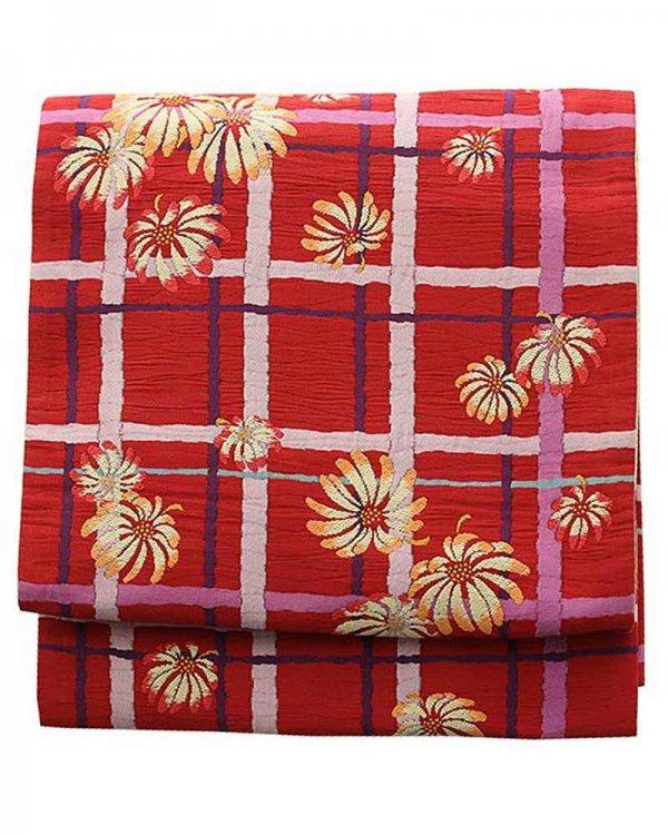 振袖用袋帯0006 赤 格子/花