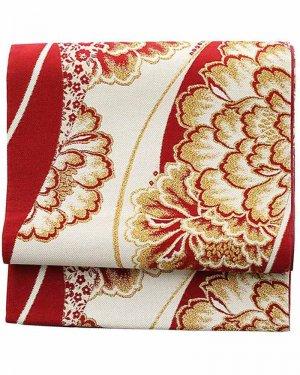 振袖用袋帯0014 白×赤地 牡丹