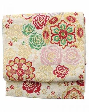 振袖用袋帯0046 白 バラ/桜/華文