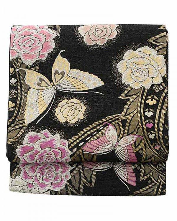 振袖用袋帯0036 黒 バラ/蝶