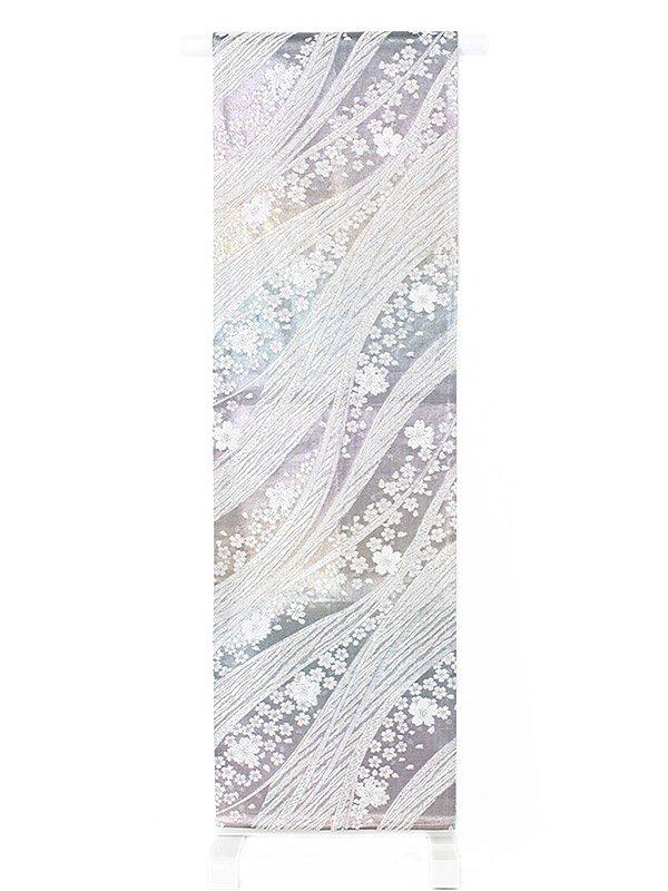 振袖用袋帯0018 銀 桜