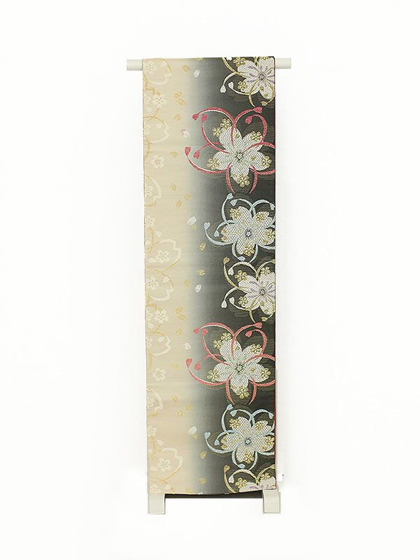 振袖用袋帯0044 黒白ぼかし 桜