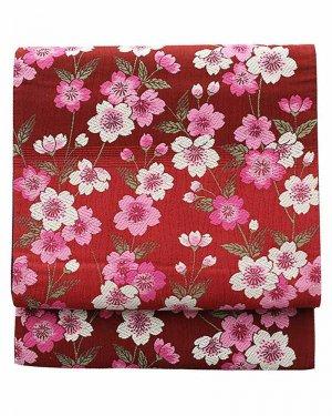 振袖用袋帯0010 赤 ぼかし/桜