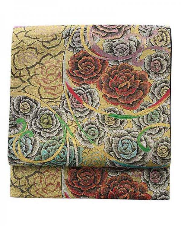 振袖用袋帯0037 金 バラ
