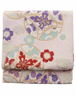 振袖用袋帯0022 ピンク 七宝/桜