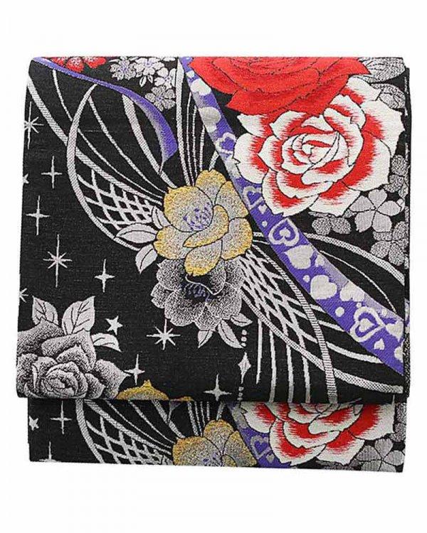 振袖用袋帯0031 黒 赤バラ